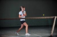 young girl exercise tennis sport indoor