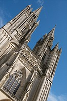 Notre Dame cathedral 14th c detail of towers,Coutances, Cotentin, Normandy, France