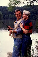 MATURE COUPLE FISHING_ROMANTIC INTERLUDE