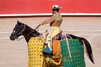 Picador on his protected horse in the Plaza de Toros SAN MIGUEL DE ALLENDE, MEXICO