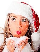 Female Santa blowing snow
