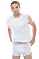 healthy fit young man people in underwear islated on white background in studio