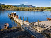 Ferries on Derwent Water at Keswick in the Lake District Park, Cumbria, England, United Kingdom