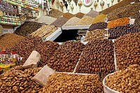 Nuts and dried fruit for sale in the souk of Marrakesh, Morocco
