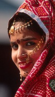 Portrait of a RAJASTHANI GIRL during a TRADITIONAL DANCE performance at the PUSHKAR CAMEL FAIR _ RAJASTHAN, INDIA