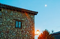 Facade of house, night view. Medinaceli, Soria province, Castilla Leon, Spain