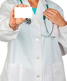 Anonymous doctor with blank card