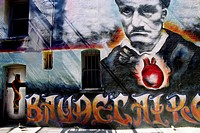 Wall MURAL of Baudelaire in NORTH BEACH _ SAN FRANCISCO, CALIFORNIA, USA