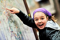 girl with city map navigation panel
