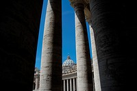 Saint Peter´s Basilica in Piazza San Pietro from the colonnades  Vatican City, Rome, Lazio, Italy, Europe.