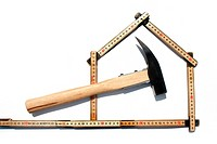 Symbol for carpentry, hammer and meter