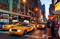 Taxis, Night view of Times Square, Manhattan, New York, USA