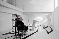 Zaha Hadid Design Gallery with Fudge Hair Pop_Up Salon, London, United Kingdom. Architect: Zaha Hadid Architects, 2012. Basement level featuring Capsa...