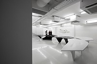 Zaha Hadid Design Gallery with Fudge Hair Pop_Up Salon, London, United Kingdom. Architect: Zaha Hadid Architects, 2012. Basement level featuring Aqua ...