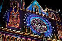 Cathedral Saint-Jean, la fête des lumières, Lyon, Rhône, Rhône-Alpes, France.