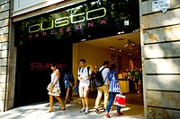 Ramblas of Barcelona Spain  Custo clothes shop