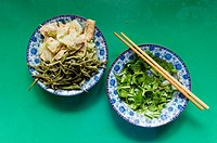 A freshly cooked vegetarian meal the San Huang Zhai Monastery on the Song Mountain, China
