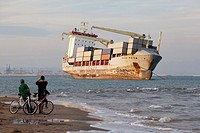 Container Ship Washed Up on Beach, El saler Beach, Valencia, Spain