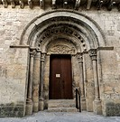 Portal of Romanesque church Santa María in Santa Cruz de la Serós, Aragón, Spain