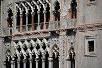 Detail of the façade of the Ca'd'Oro building, whose balconies overlook the Canal Grande Nowadays the palazzo is an art museum known as Galleria Franc...