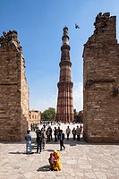 India, Delhi, View of Qutub Minar