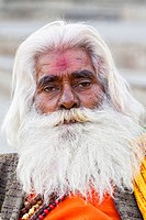 India, Uttar Pradesh, Close up of sadhu