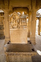 India, Rajasthan, Jaisalmer, View of tombstones at Bada Bagh Cenotaphs