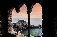 Portovenere, La Spezia Province, UNESCO World Heritage Site, Liguria, Italian Riviera, Levante, Italy. The church of S. Pietro
