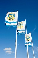 Three flags of Loviisa town, Finland