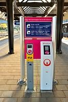 Platform of train station in Maastricht  Machines for checking in and out of trains when using a chip card on public transportation  Veolia transporta...