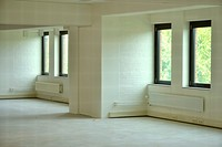 white empty room with windows
