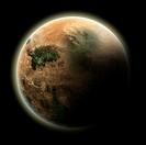 An fictional desert Planet  Isolated on black