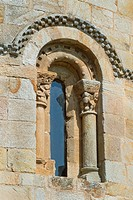 Detail of San Pedro collegiate, in Cervatos village, Campoo de Enmedio, considered as one of the most important romanesque churches of Cantabria and s...