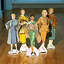 Female Paper Dolls Wearing Fur Coats