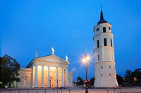 Vilnius Cathedral and bell tower at dusk