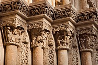 Capitals in Palau door or Almoina door, Saint Mary Cathedral, Cathedral of Valencia. The Archbishop square. Valencia. Valencian Community. Spain.