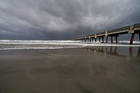 Ominous clouds of Tropical Storm Beryl approaching Jacksonville Beach, Florida on May 27, 2012. The storm had the strongest landfall for any preseason...
