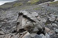 Hiking around the Þakgil Thakgil camping site, south of the Mýrdalsjökull ice cap. Mýrdalshreppur municipality, Vestur_Skaftafellssýsla, Suðurland Sou...