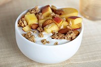 Yogurt, Food, Food And Drink, Dairy, Breakfast, Fruit, Granola, Nut, Peach, Yellow Peach, Almond, Roasted, Oat, Greek Yogurt,