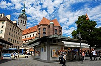 Munich, Viktualienmarkt , Market square, Bavaria, Germany, Europe.