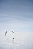 Abstract of skiing equipment against icecap, Greenland