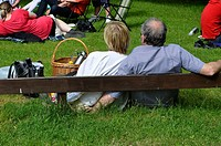 MEDEVI SWEDEN Couple at midsummer sitting on the grass and enjoying a concert