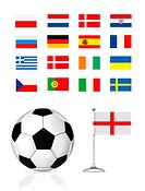 football ball and flag