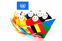 Conceptual image of international relations and UN