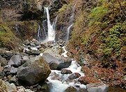 scenic waterfall Urami in Nikko, Japan