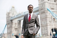 Portrait of African American businessman in London