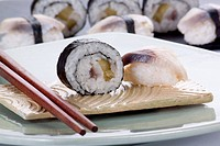 Maki and nigiri with herring