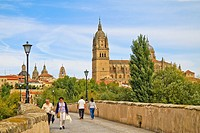 Roman bridge and Gothic Cathedral Salamanca, Spain