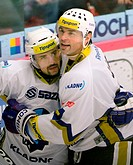 Tomas Plekanec CZE, Rytiri Kladno in NHL player of Montreal Tomas Plekanec left and Jaromir Jagr of Kladno celebrate scoring goal during 7th round Cze...