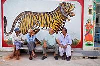 Street scene,friends,Udaipur, Rajasthan, india
